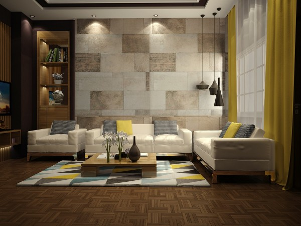Blue and yellow are usually paired in their more vivid forms, but these subdued shades wonderfully lend themselves to the relaxing atmosphere set by the stone walls and rich wood floors. The curtains are the only yellow feature that adopts a brighter tone, perhaps to draw attention to the view outside.