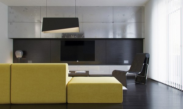 Steel and brushed black cladding set the stage for a dark and industrial theme, but the bright sofa adds an element of adventure and surprise.