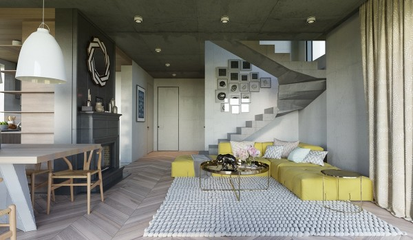 Muted yellow stands out from the grayscale background, a soft oasis in the sea of concrete. This is another interior where balanced interior elements allow for endless experimentation with color.