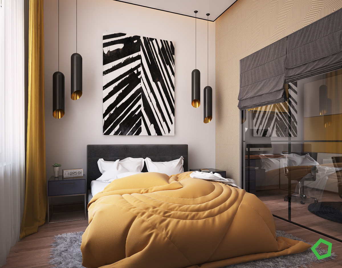 Yellow And Gray Bedroom - 3 open layout interiors with yellow as the highlight color