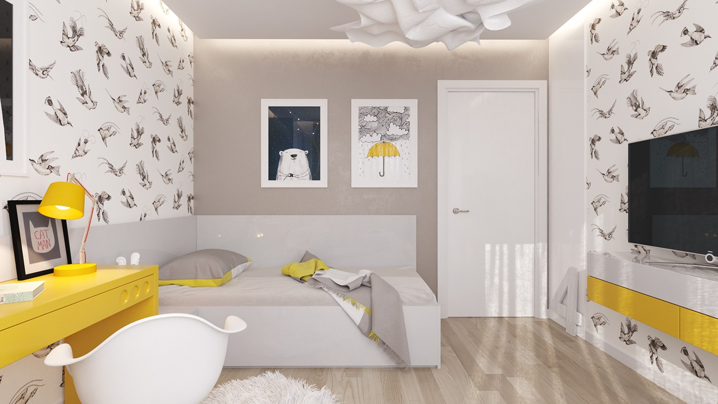 Grey And Yellow Bedroom Of 5 Creative Kids Bedrooms With Fun Themes