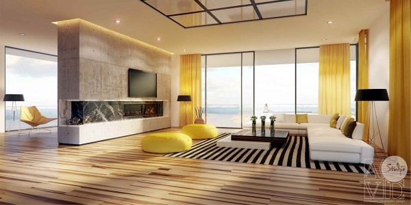 Yellow works in natural contrast to the panoramic view of the sea. The interior is bold and modern, perhaps even minimalistic, but the yellow offers a slightly tropical aesthetic to the mix as well.
