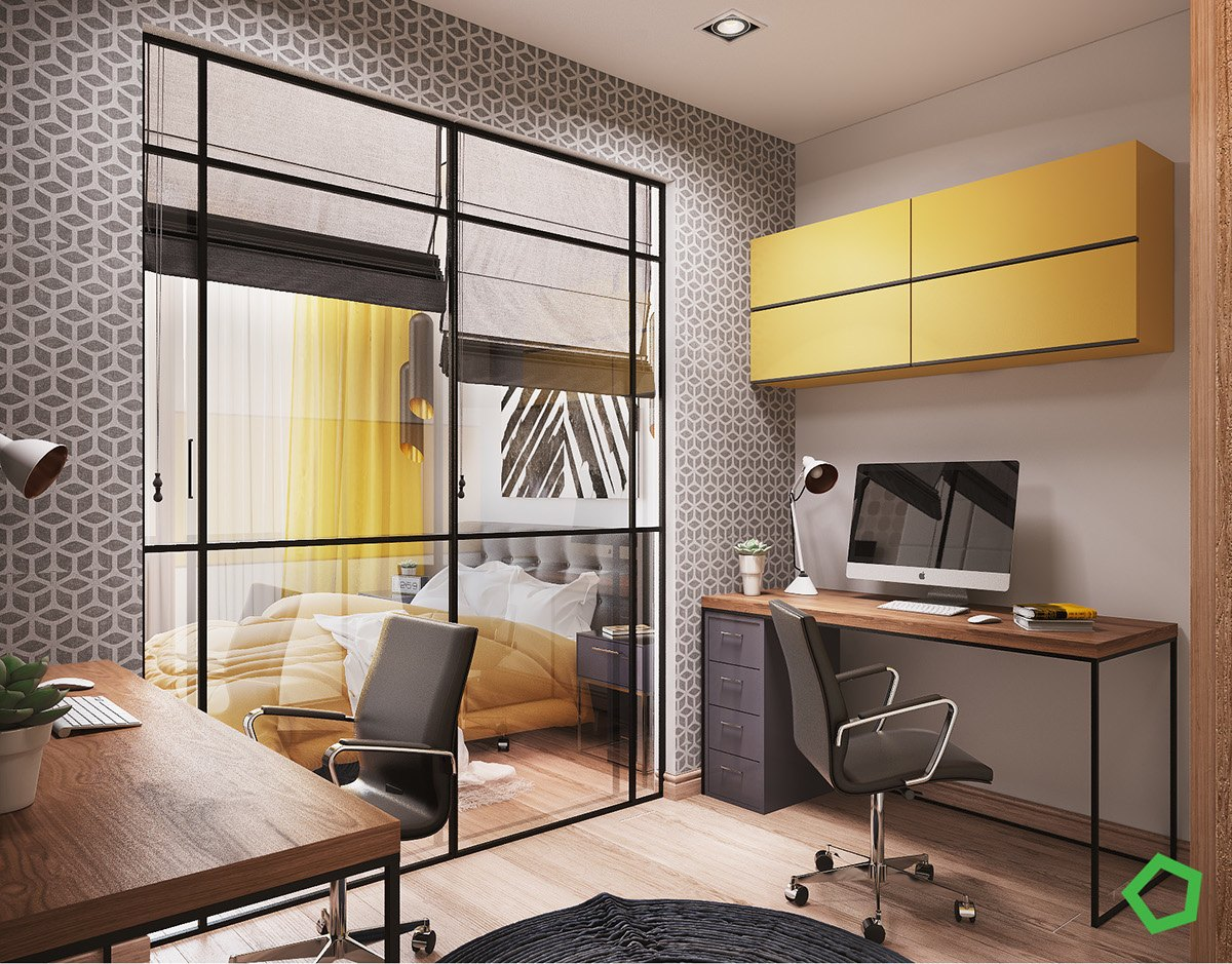 3 open layout interiors with yellow as the highlight color. Black Bedroom Furniture Sets. Home Design Ideas
