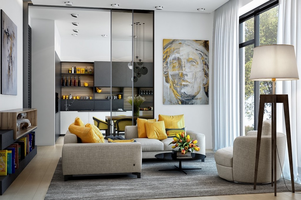 yellow and gray living room.  25 Gorgeous Yellow Accent Living Rooms
