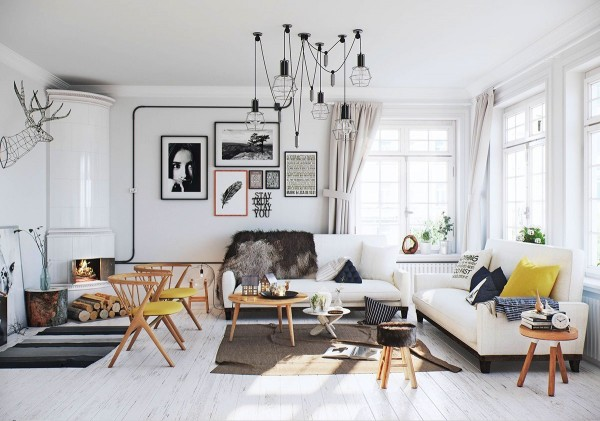Artistic black and white decor provides a neutral backdrop that makes the wooden elements stand out - the furniture looks absolutely lively! Here, the only two yellow accents are the classic Danish chairs to the left (a 1953 design by Helge Sibast) and the oversized throw pillow to the right.