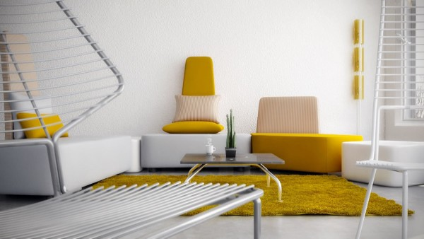 Rich jonquil yellow takes center stage in this modernist interior. The angular sofa in the background is quite striking, especially the choice of beige pinstripes.