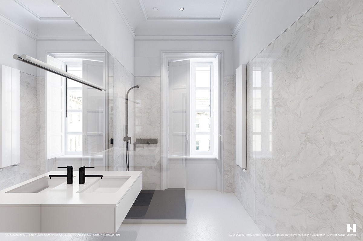 6 perfectly minimalistic black and white interiors for Bathroom interior design white