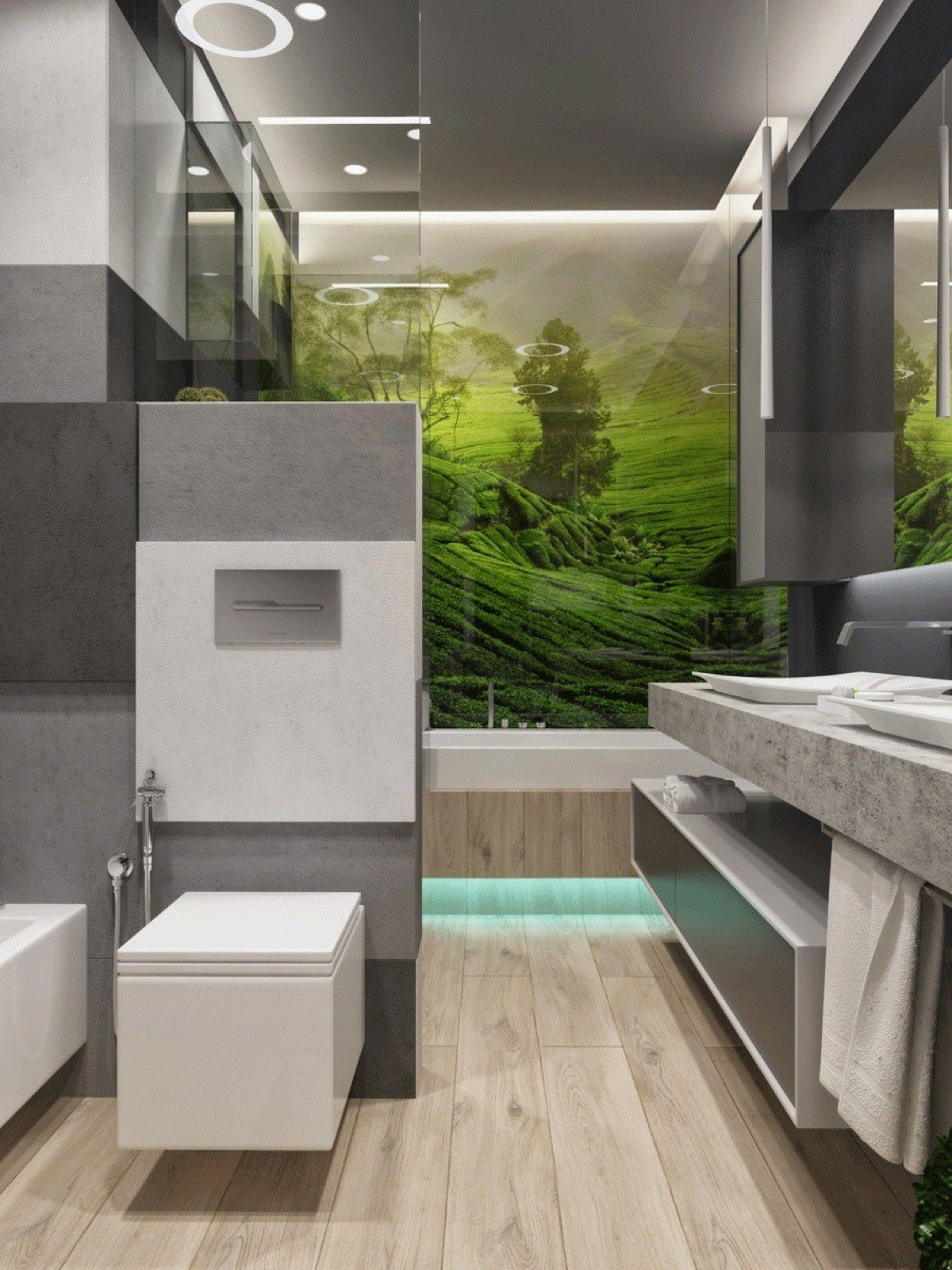 Amazing Bathroom Mural Inspiration - Two apartments with sleek grayscale interiors