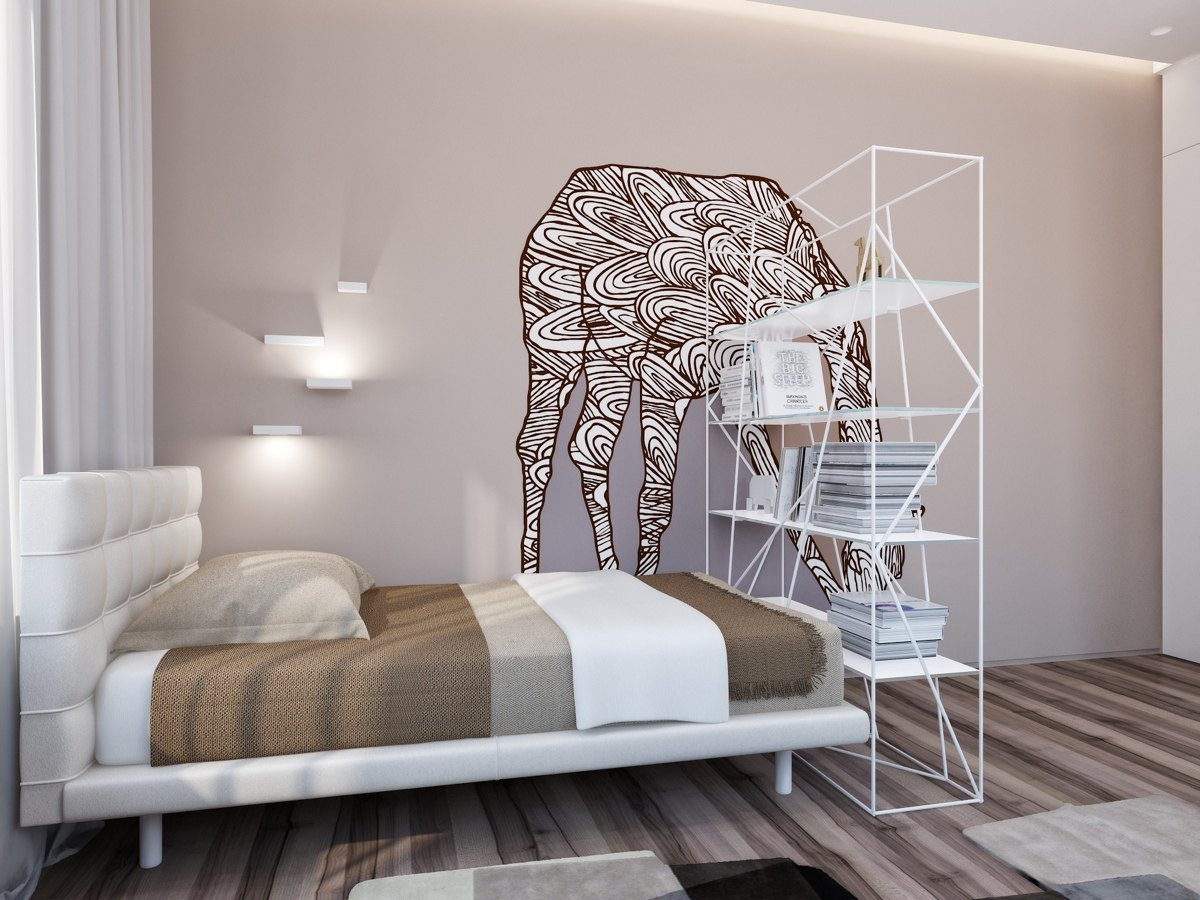 Artistic Guest Bedroom Ideas - Two apartments with sleek grayscale interiors