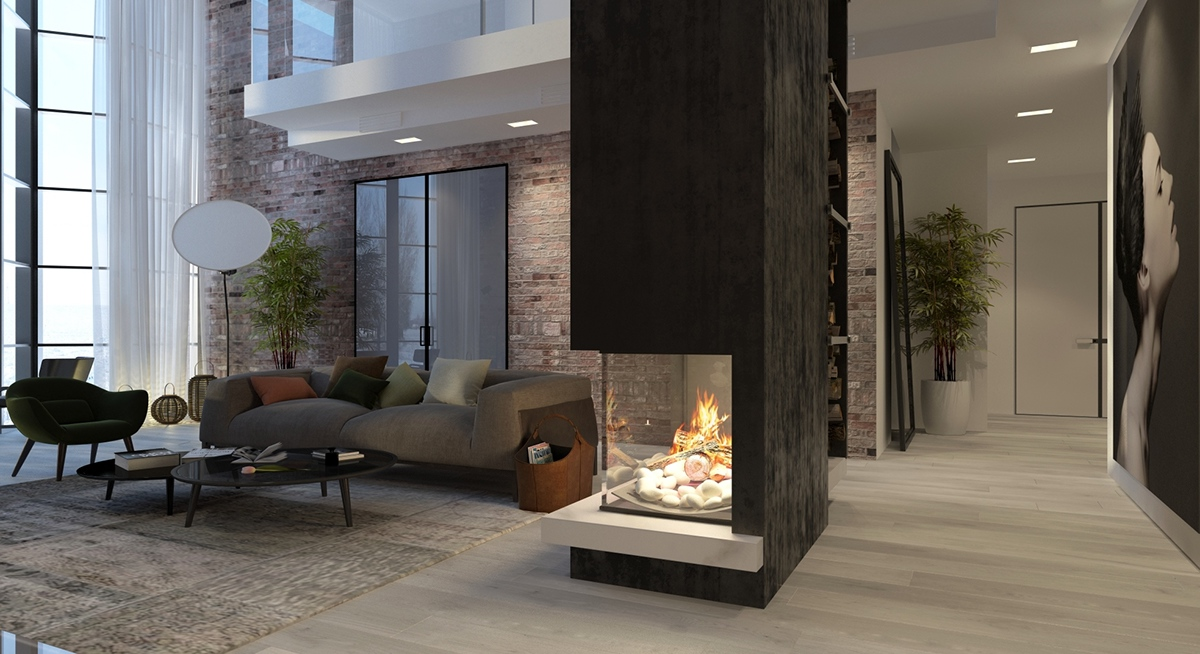 Atrium Living Room Fireplace Inspiration - 5 living rooms with signature lighting styles