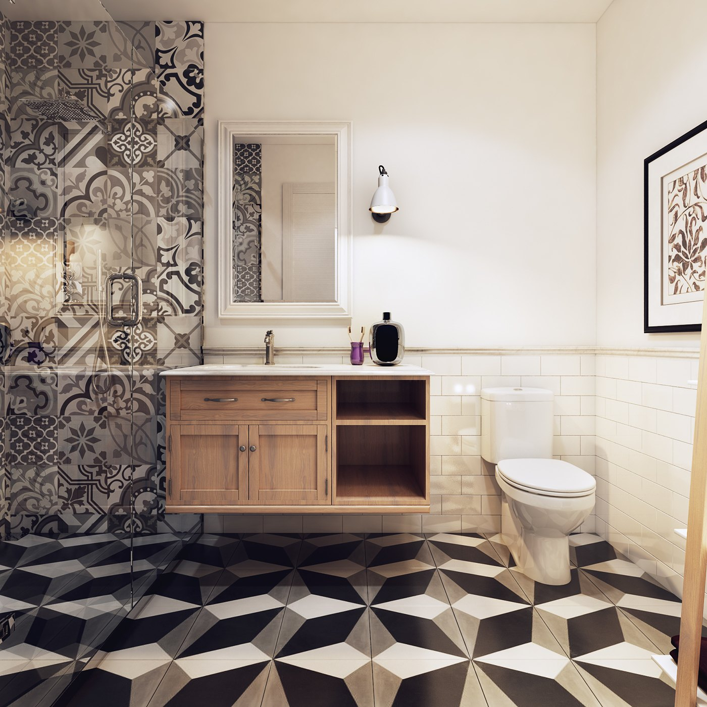 Awesome Geometric Bathroom - 10 stunning apartments that show off the beauty of nordic interior design