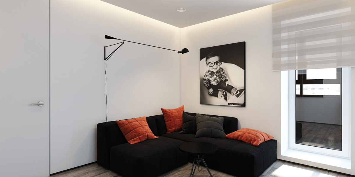 Black And White Accent Colors - 6 perfectly minimalistic black and white interiors