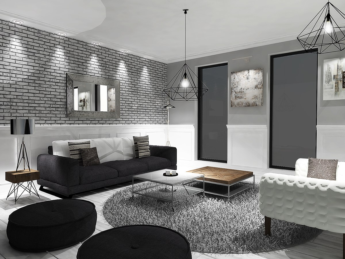 Grey black and white living room for Black grey living room