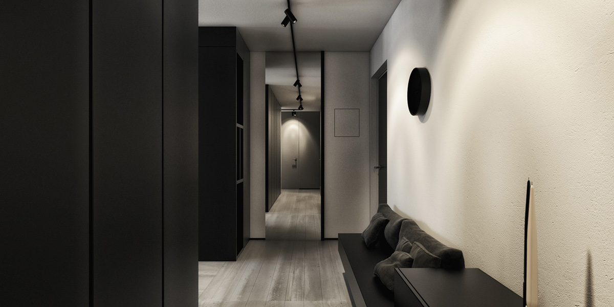 Black And White Hallway - 6 perfectly minimalistic black and white interiors