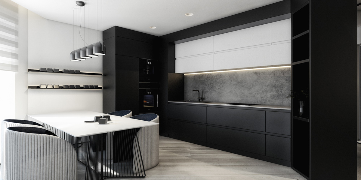 Black And White Luxurious Kitchen - 6 perfectly minimalistic black and white interiors