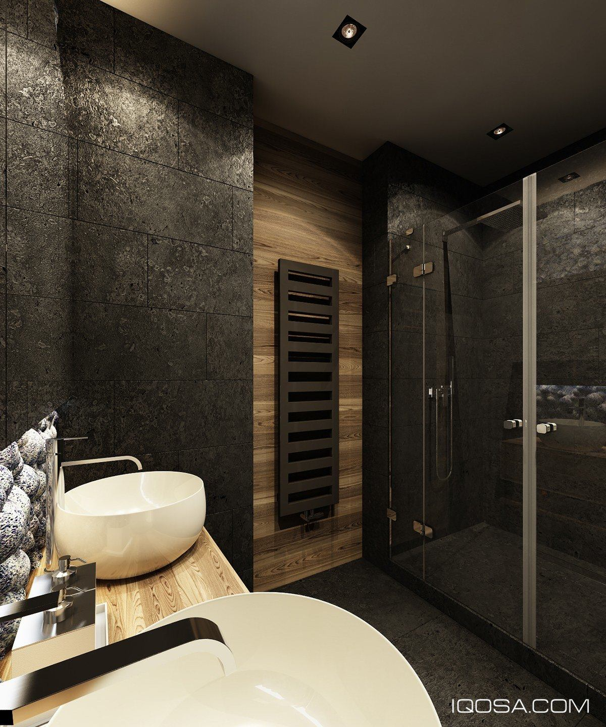 Black And Wood Bathroom Design - Playful ways to brighten neutral color themes