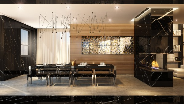 Black marble ties the formal dining room back into its surroundings. Above, spectacular lighting directs the eyes toward the table – the lights are from the Match series by Jordi Vilardell & Meritxell Vidal.