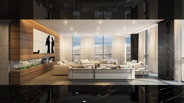 The next luxury apartment is a penthouse for an art collector in Iran. The living room is swathed in organic materials and neutral natural tones, framed by a dramatic hallway in unforgettable black marble. This space also features a stunning view – some of the interior colors seem to echo the beach tones of the landscape.