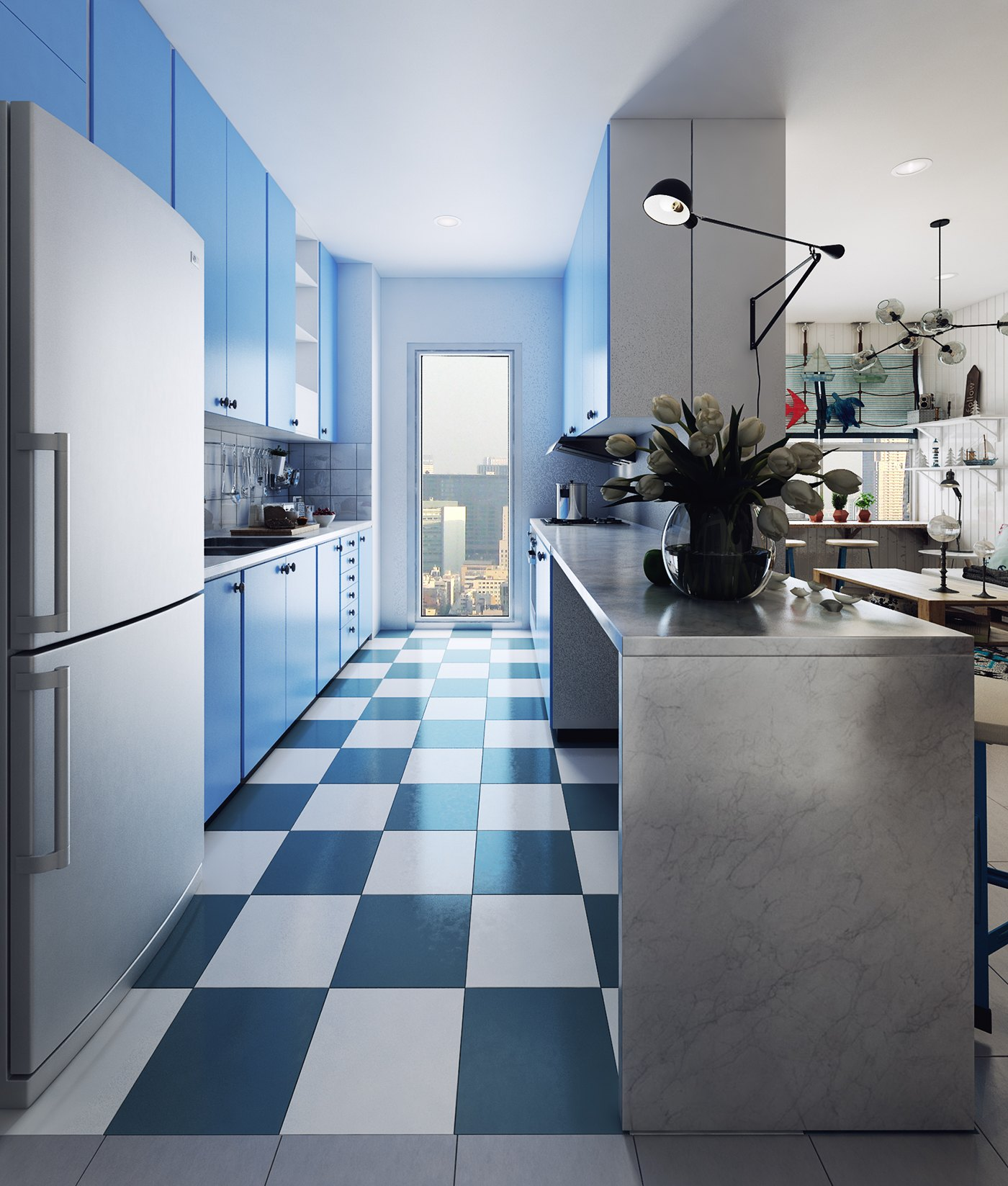Blue Scandinavian Kitchen - 10 stunning apartments that show off the beauty of nordic interior design