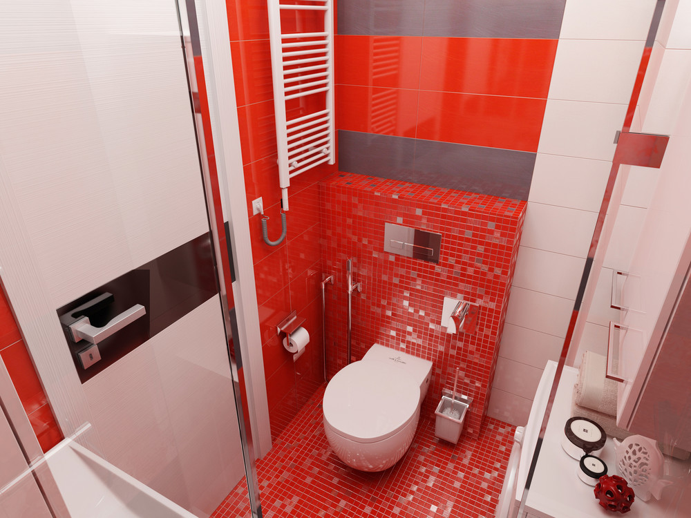 Bold Red Bathroom Ideas - 4 super tiny apartments under 30 square meters includes floor plans