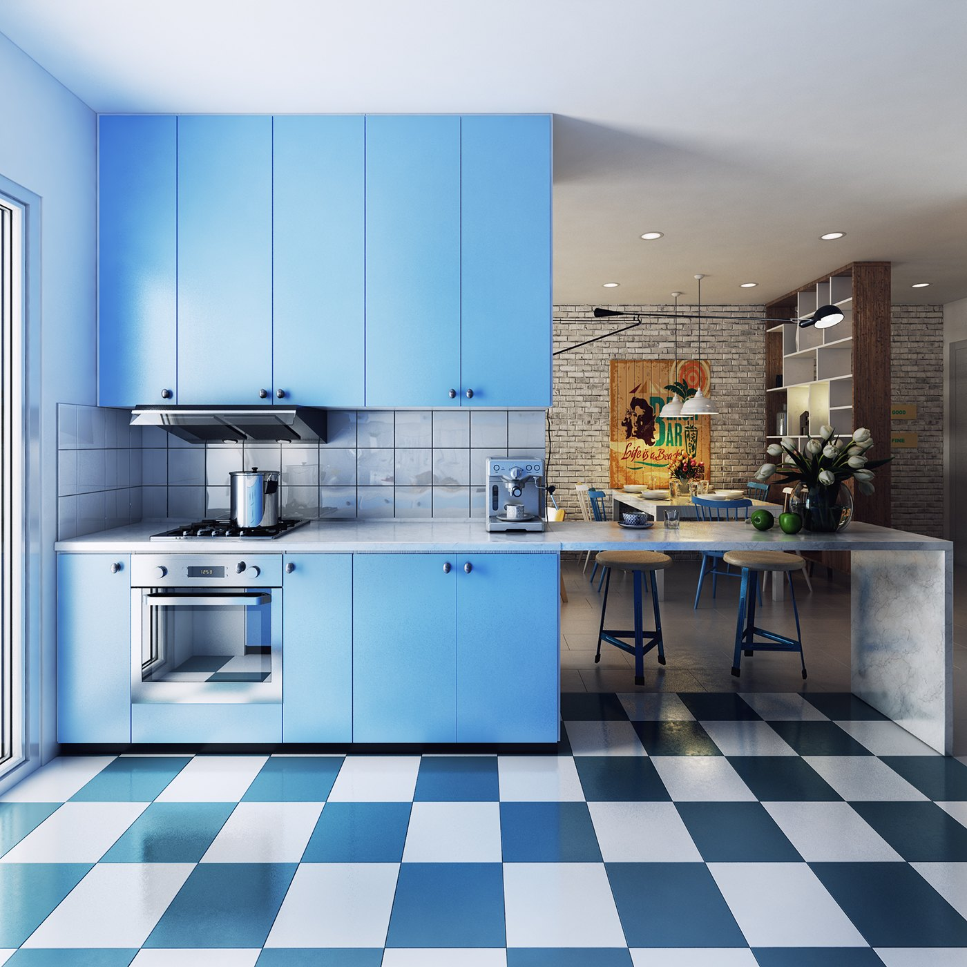 Bright Blue Kitchen Inspiration - 10 stunning apartments that show off the beauty of nordic interior design