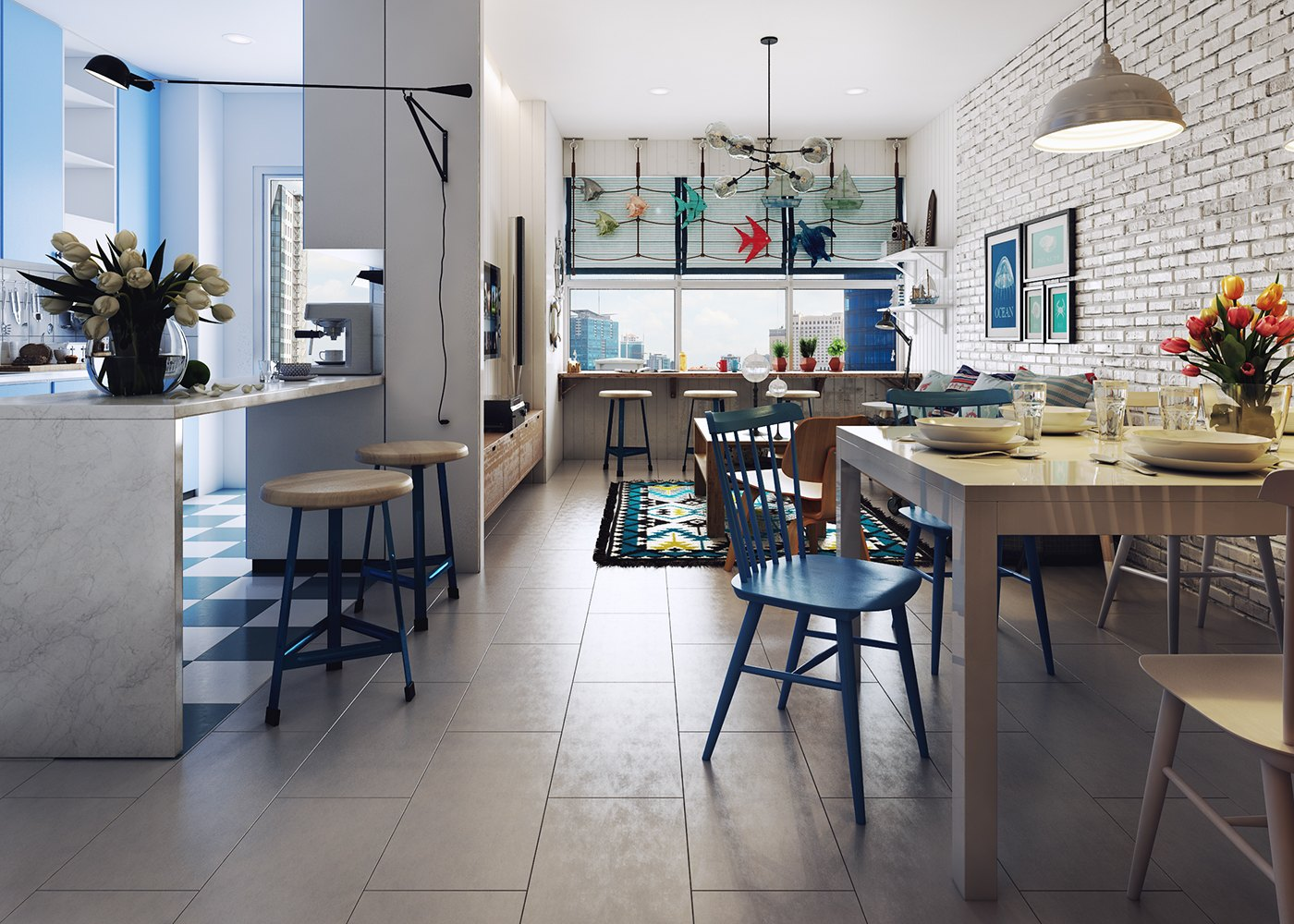 Bright Blue Scandinavian Home - 10 stunning apartments that show off the beauty of nordic interior design