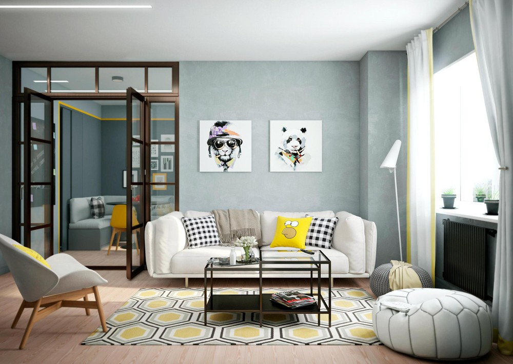 Bright Interior Accent Color Examples - 2 bright homes with energetic yellow accents