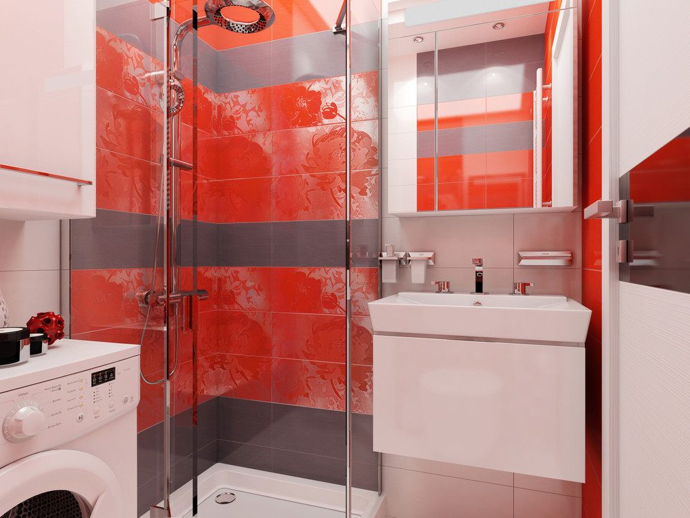 Bright Red Bathroom Inspiration - 4 super tiny apartments under 30 square meters includes floor plans