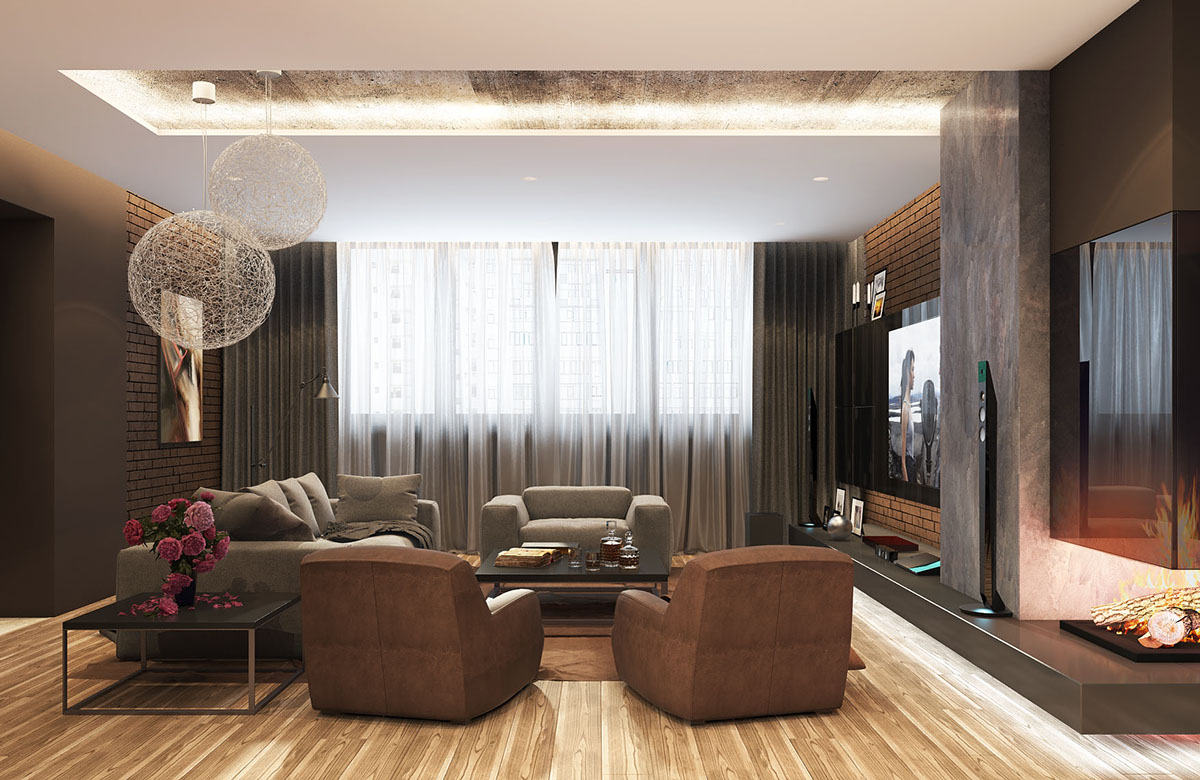 Brown And Concrete Living Room - 5 living rooms with signature lighting styles