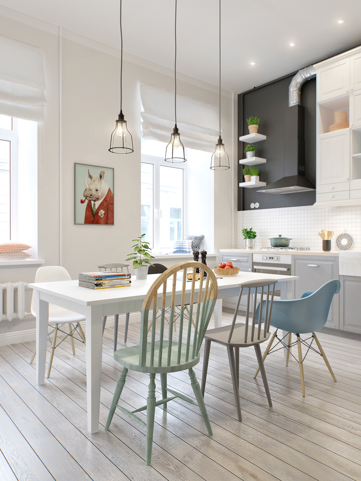 32 more stunning scandinavian dining rooms for Deco cuisine avec chaise de salon bois