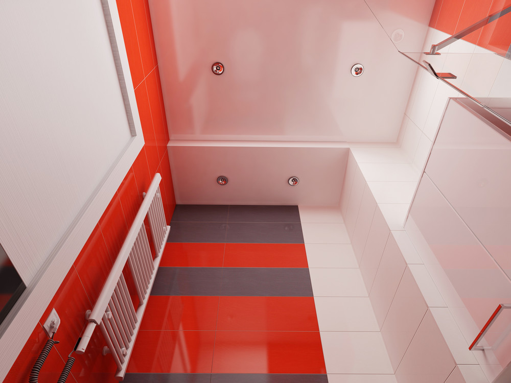 Colorful Red Bathroom Tile Ideas - 4 super tiny apartments under 30 square meters includes floor plans