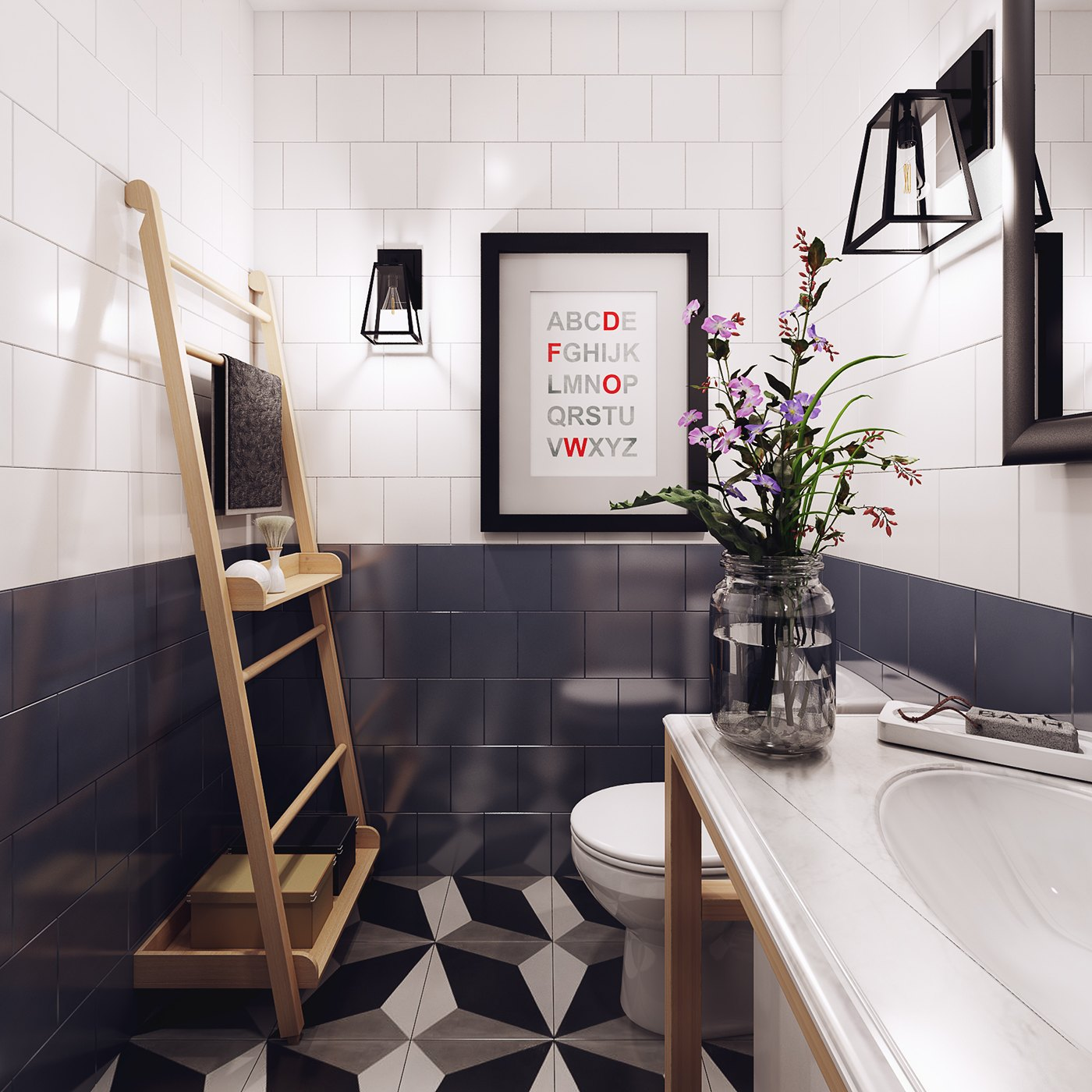 Cool Geometric Nordic Bathroom - 10 stunning apartments that show off the beauty of nordic interior design