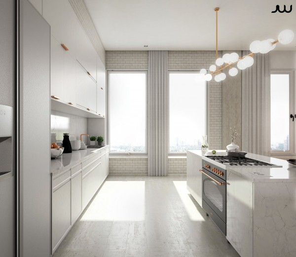 In a completely white-based space like this one, each metallic accent adds another layer of sophistication.