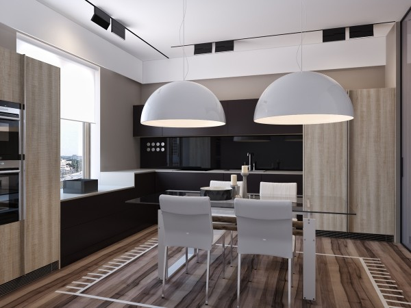 Two apartments with sleek grayscale interiors A sleek apartment the divides rooms creatively
