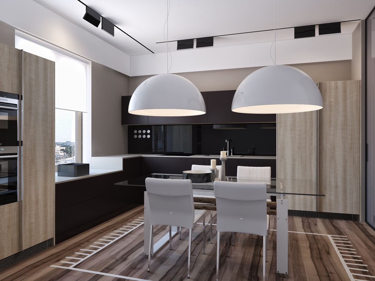 Creative Dining Room Decor - Two apartments with sleek grayscale interiors