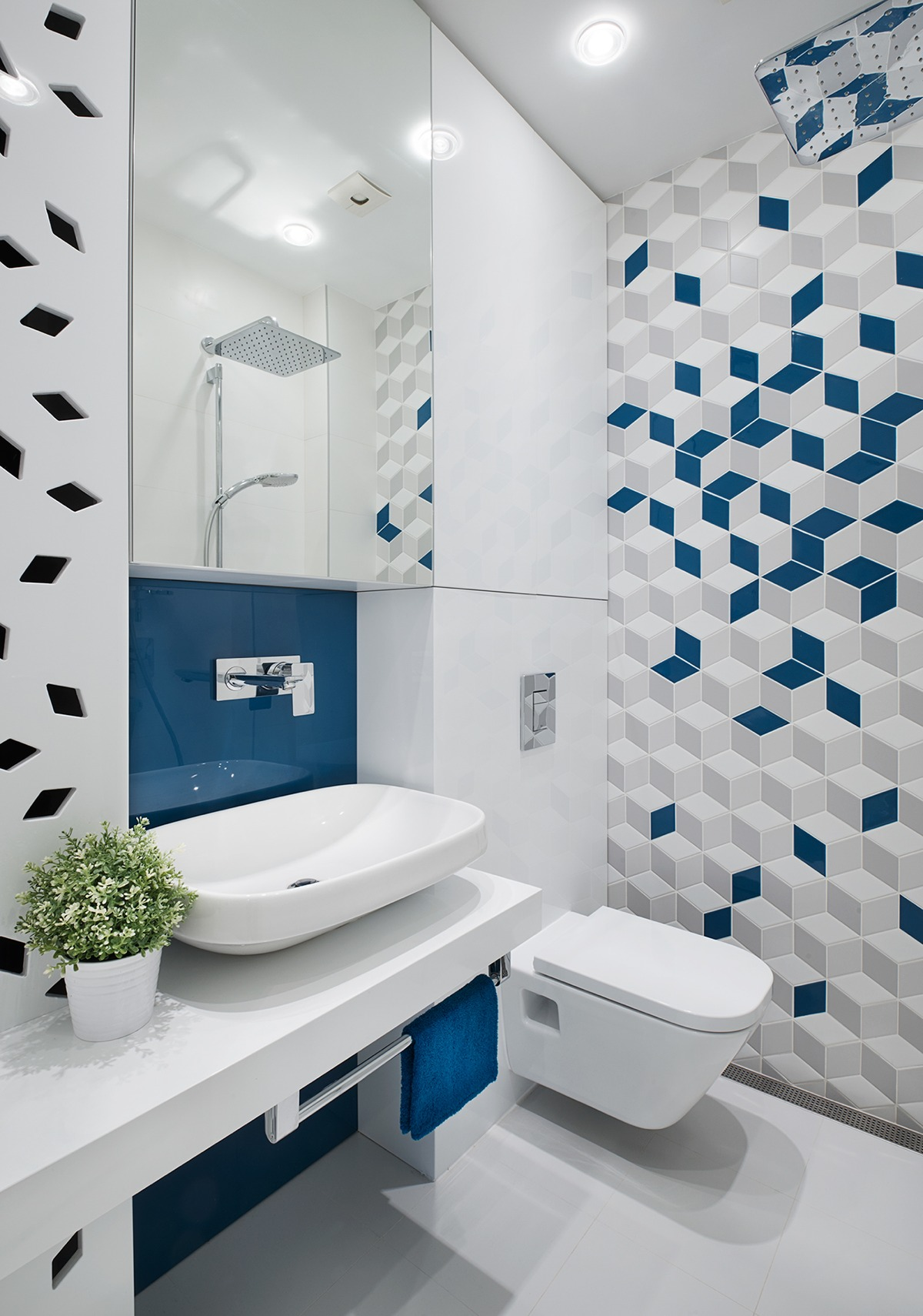 Creative Geometric Bathroom Tile - A mid century inspired apartment with modern geometric accents
