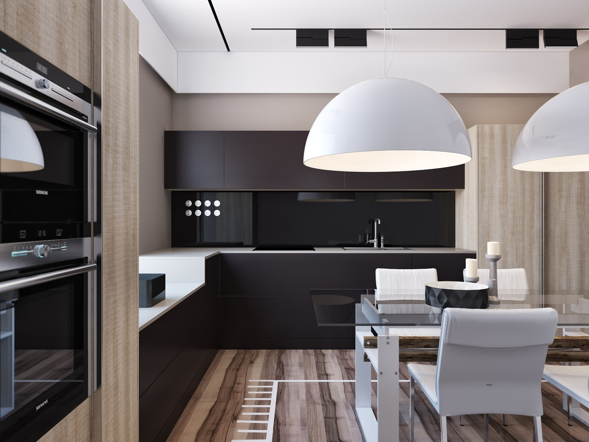 Creative Kitchen With Exotic Wood - Two apartments with sleek grayscale interiors