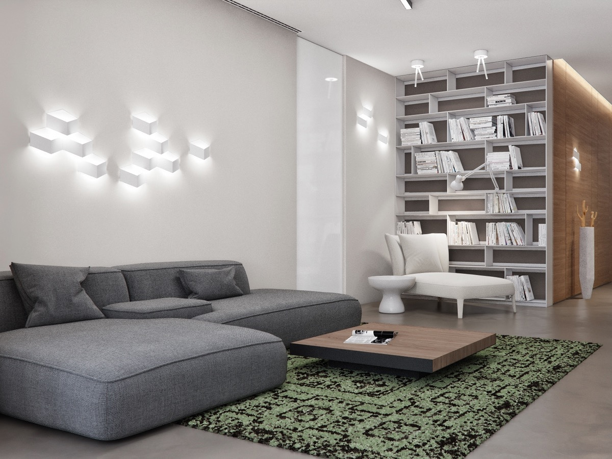Creative Wall Lighting - Two apartments with sleek grayscale interiors