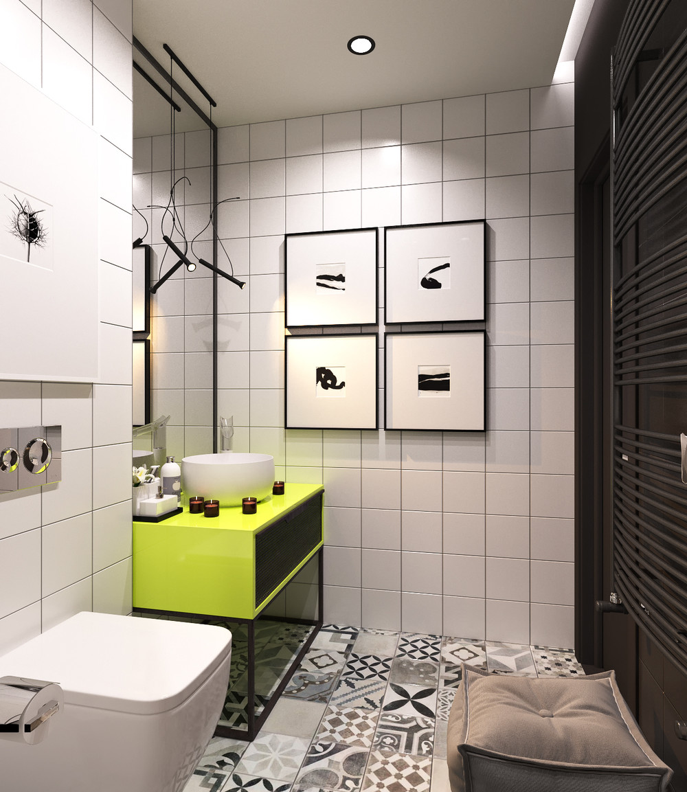 A pair of super small apartments with dazzling neon accents for Black and green bathroom accessories