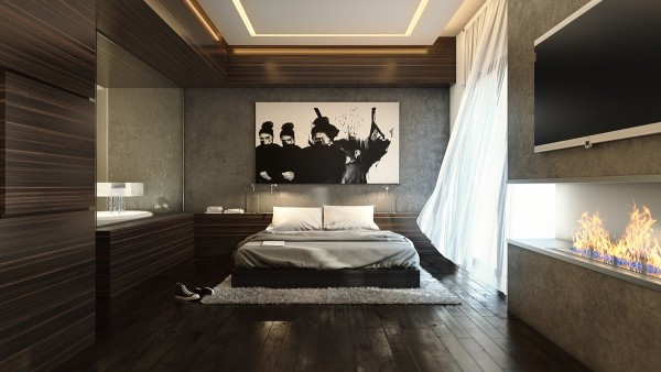 This bedroom makes good use of subdued yet strong materials to create a dark and inviting appeal.