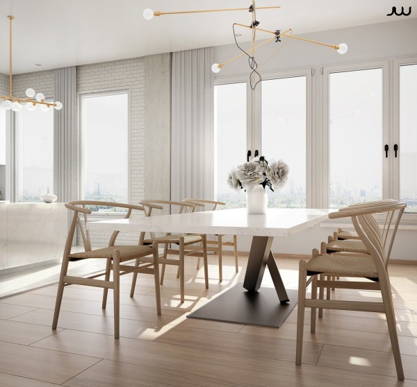 Seating comes by way of the iconic Wishbone chair, a 1944 design by Hans Wegner.