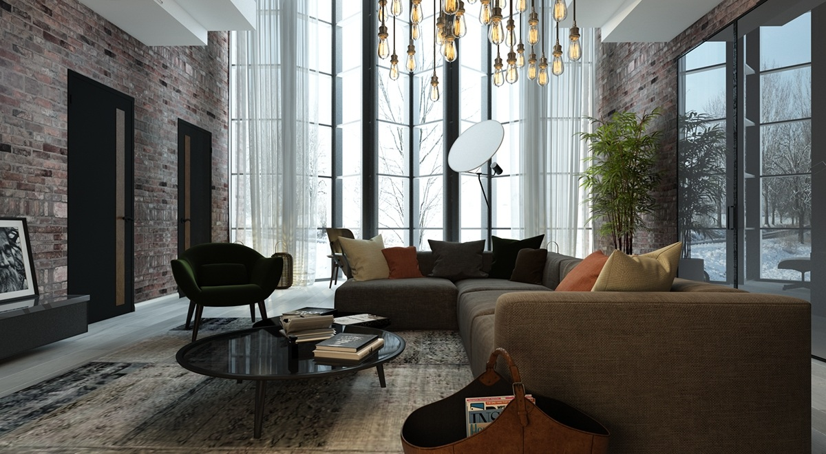 Floor Lamp With Reflector - 5 living rooms with signature lighting styles