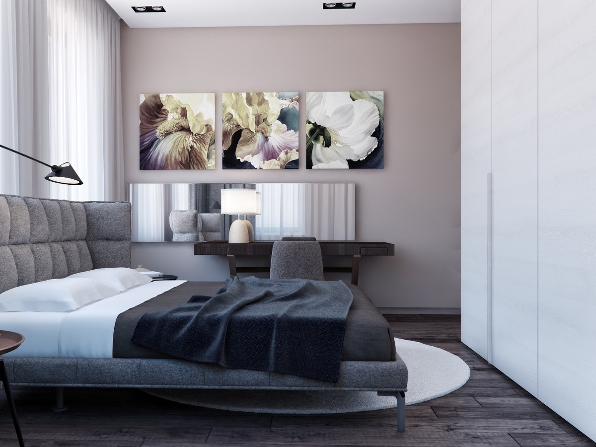 Floral Bedroom Inspiration - Two apartments with sleek grayscale interiors