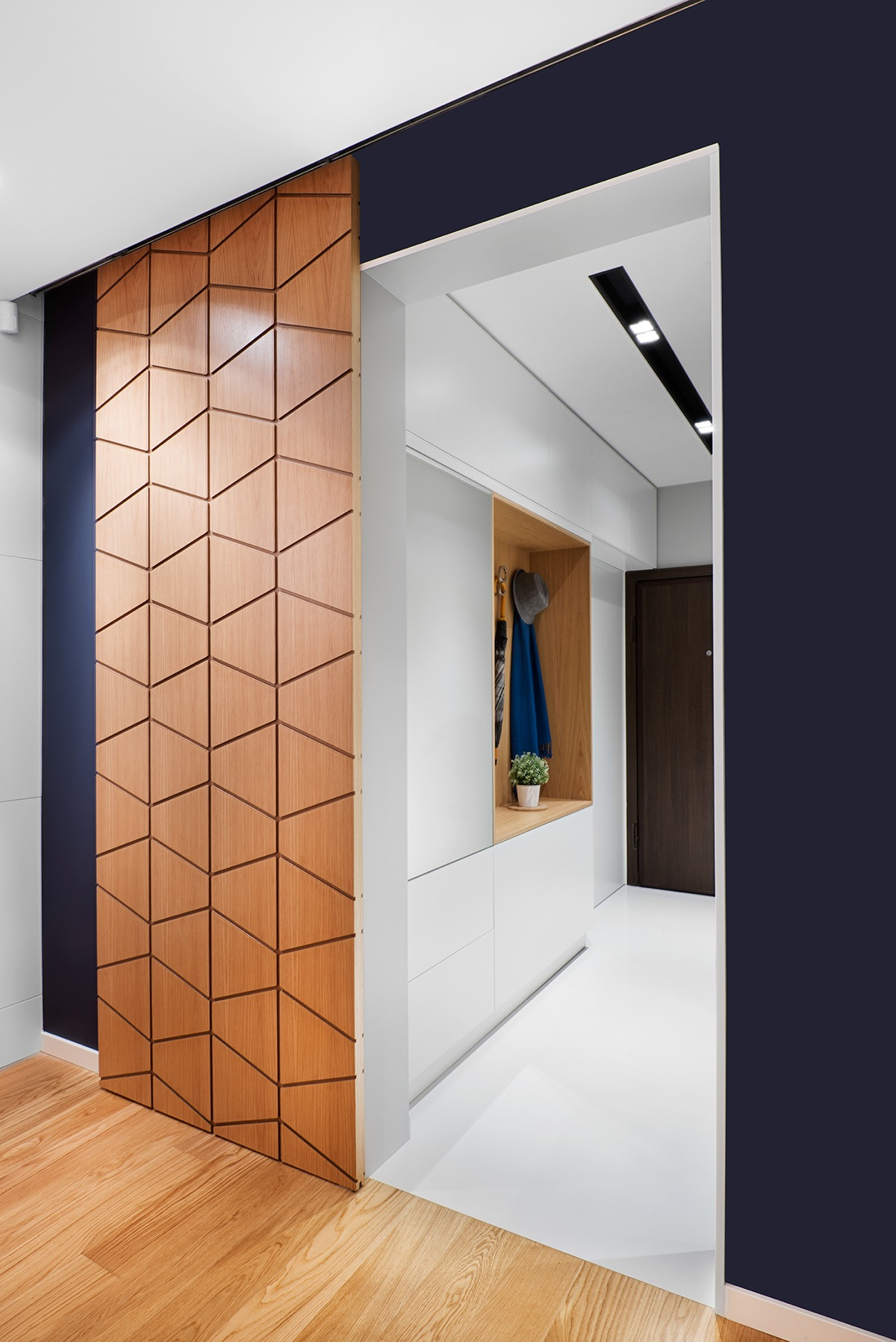 A mid century inspired apartment with modern geometric accents for Door pattern design