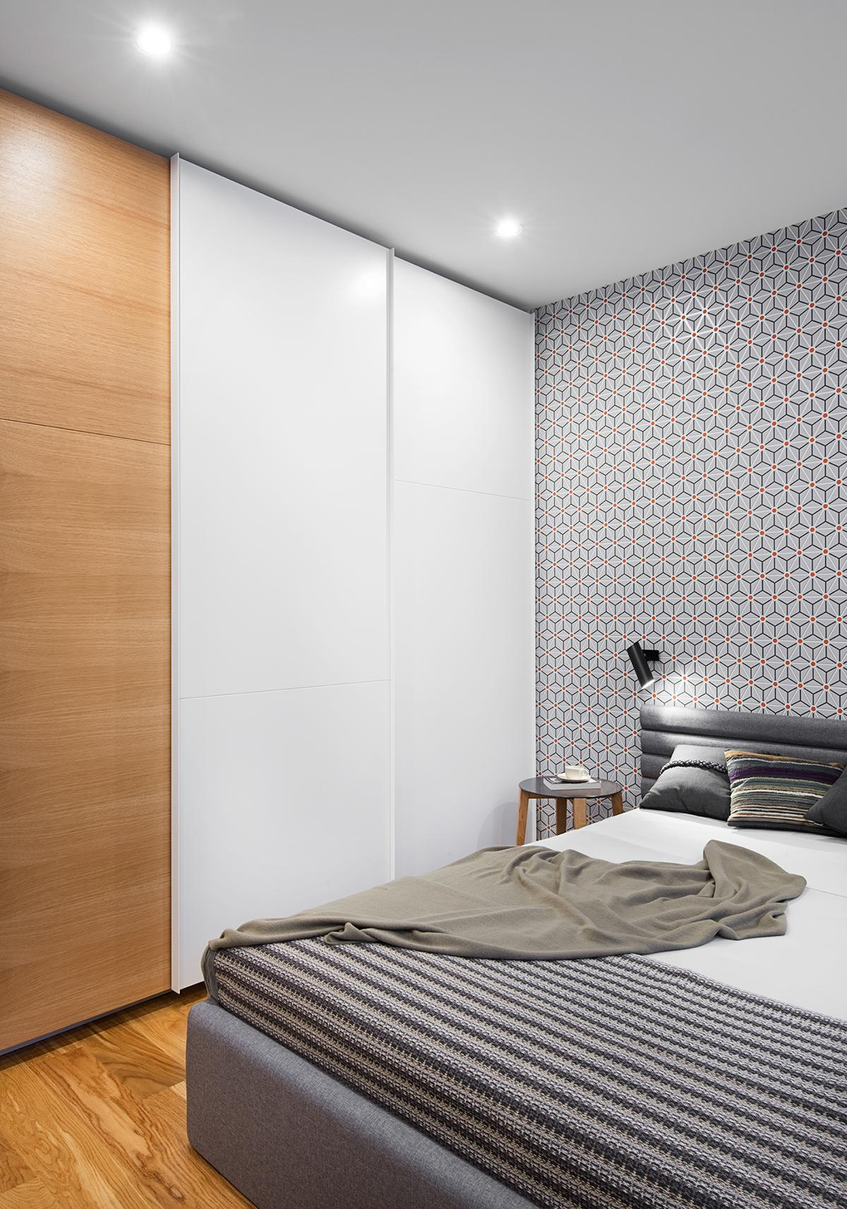 Geometric Bedroom Texture Ideas - A mid century inspired apartment with modern geometric accents