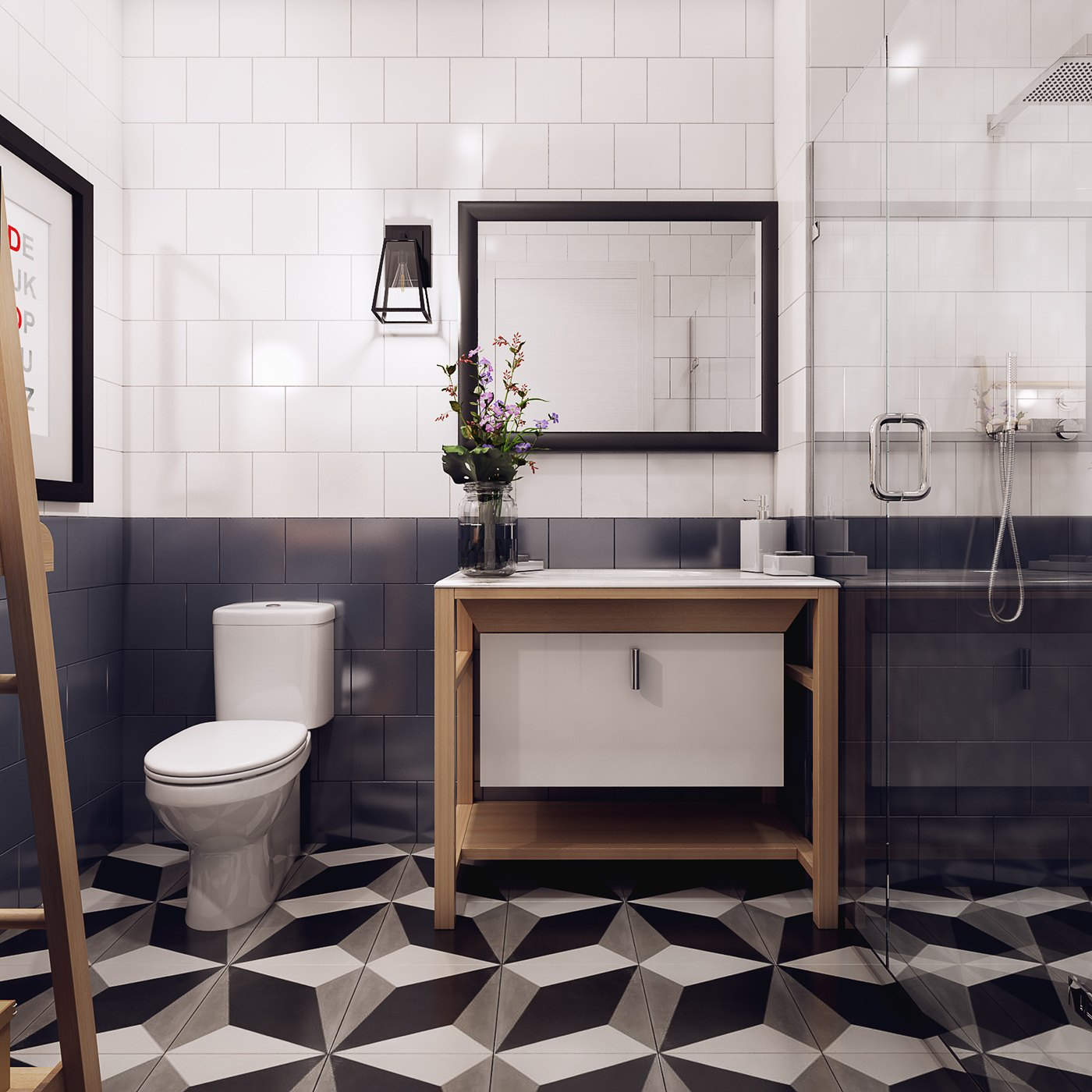 Geometric Scandinavian Bathroom Design - 10 stunning apartments that show off the beauty of nordic interior design