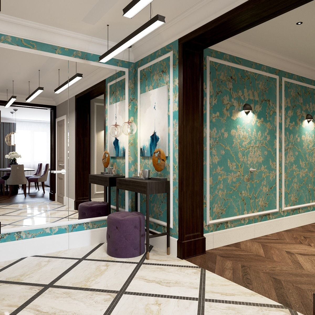 2 beautiful home interiors in art deco style for Deco interieur design
