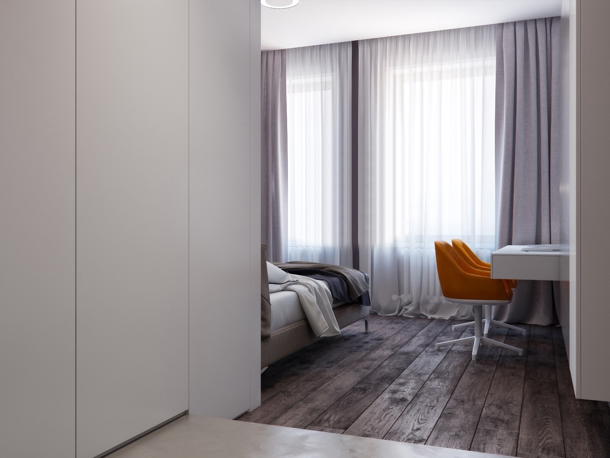 Gray And Wood Bedroom Ideas - Two apartments with sleek grayscale interiors