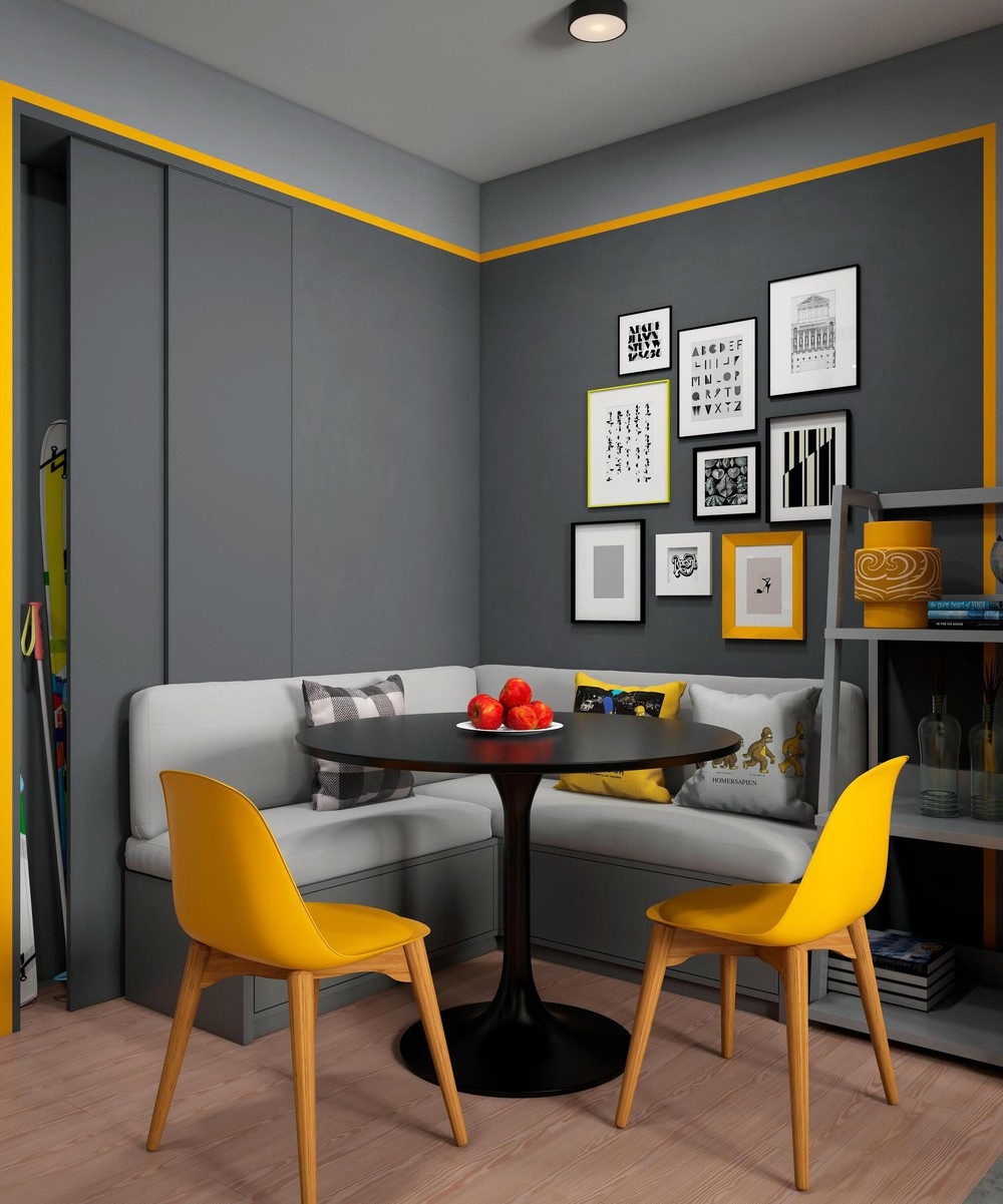 Gray And Yellow Dining Theme - 2 bright homes with energetic yellow accents