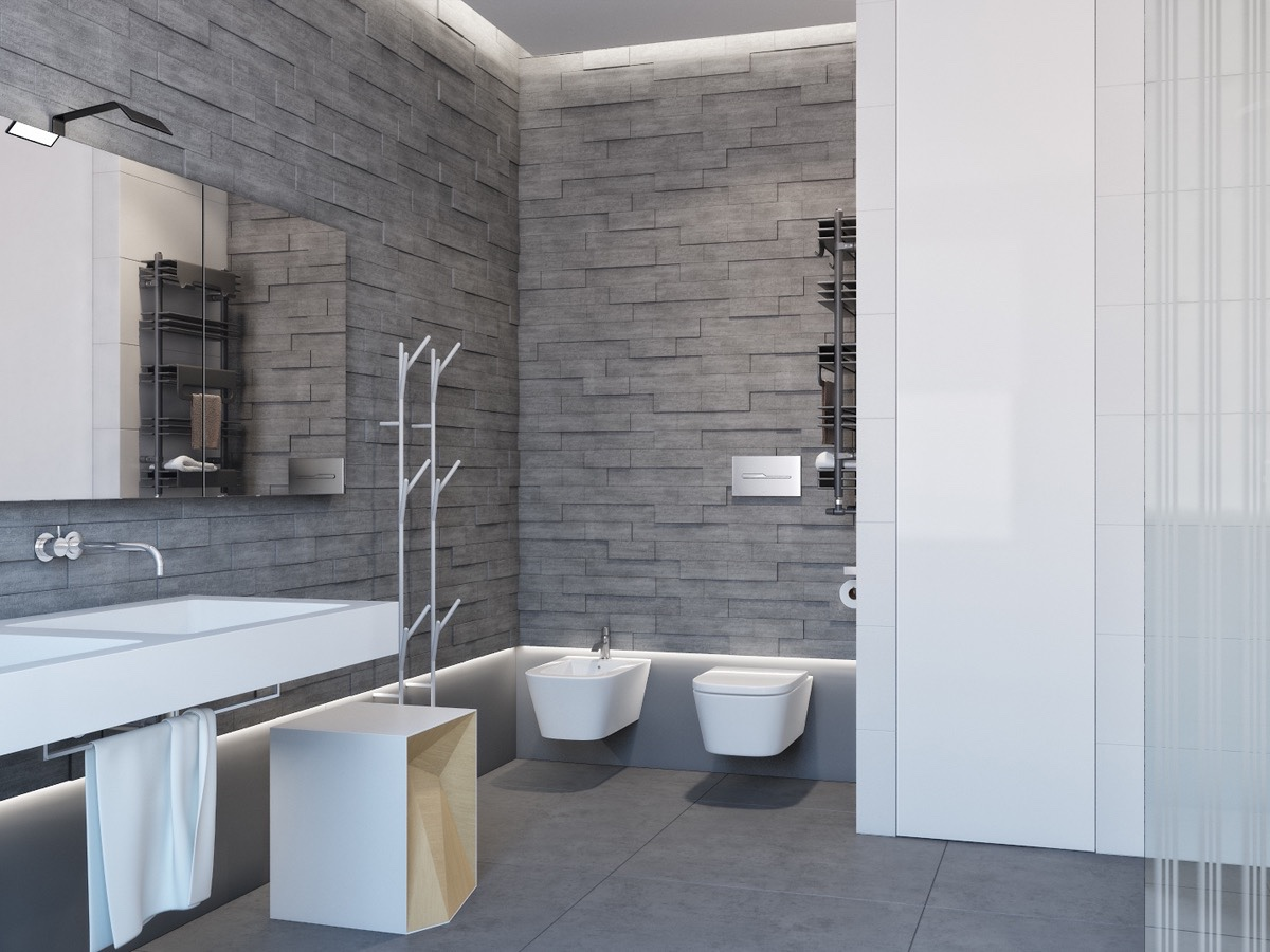 Gray Stone Bathroom Inspiration - Two apartments with sleek grayscale interiors